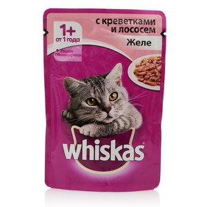 Корм для взрослых кошек желе с креветками и лососем ТМ Whiskas (Вискас)