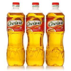 Подсолнечное масло рафинированное дезодорированное с бета-каротином 3*1л ТМ Олейна