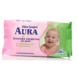 Влажные салфетки с экстрактом алоэ, с витамином Е 100 шт ТМ Ultra Comfort AURA (Ультра Комфорт Аура)