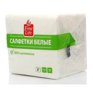 Салфетки бумажные белые двухслойные ТМ Fine Life (Файн Лайф) 100 шт +/- 3%