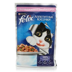 Корм для кошек Felix с форелью и зеленой фасолью в желе ТМ Purina (Пурина)