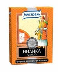 Рис пропаренный длиннозерный (в пакетах для варки) ТМ Индика Gold
