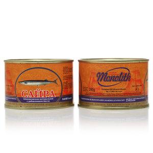 Сайра тихоокеанская с маслом ТМ Monolith (Монолит), 2*245г