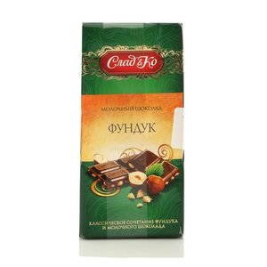 Шоколад обыкновенный молочный с дробленым фундуком тм Сладко