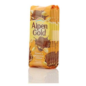 Шоколад молочный Арахис и кукурузные хлопья 5*90 г ТМ Alpen Gold ( Альпен Голд)