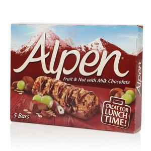 Батончики Мюсли фрукты и орехи с шоколадом TM Alpen (Альпен), 5 шт.