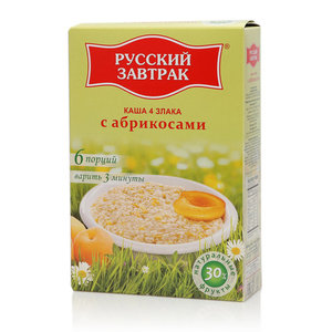 Каша из 4 злаков с абрикосами ТМ Русский завтрак в пакетиках