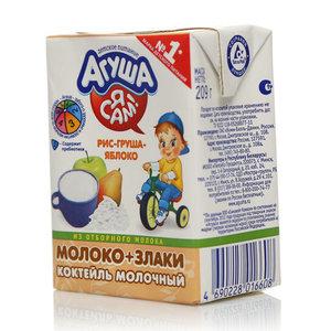 Коктейль молочный со злаками рис-яблоко-груша 3,0% ТМ Агуша Я сам!