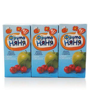 Нектар из яблок и вишни с мякотью для питания детей с 5-и месяцев 3*200мл ТМ ФрутоНяня