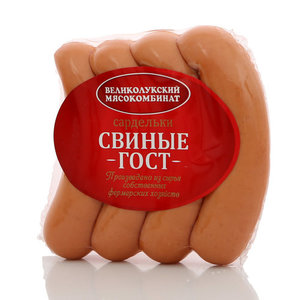 Сардельки свиные ТМ Великолукский мясокомбинат