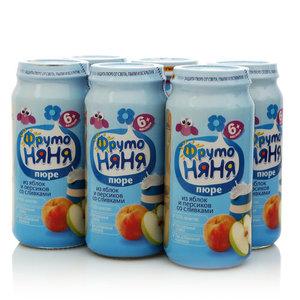 Пюре из яблок и персиков со сливками для питания детей с 6-и месяцев 6*250г ТМ ФрутоНяня