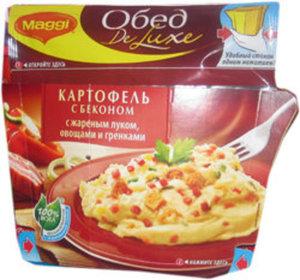 Обед картофель с беконом с жареным луком, овощами и гренками De Luxe Maggi (Де Люкс Магги)