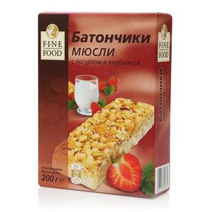 Батончики Мюсли c йогуртом и клубникой 8*25г ТМ Fine Food (Файн Фуд)