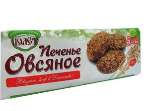 Печенье овсянное 5 злаков ТМ Полет