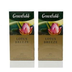 Чай зеленый 2*25*1,5г ТМ Greenfield (Гринфилд) лотос бриз с ароматом цветов лотоса и листьями мяты