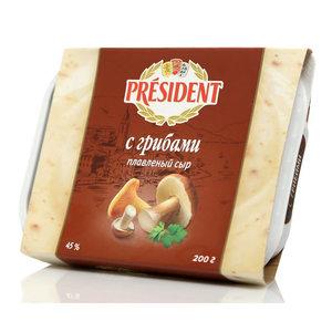 Сыр плавленый с грибами ТМ President (Президент)