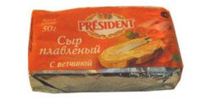 Сыр плавленый с ветчиной ТМ President (Президент)