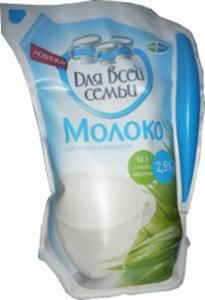 """Молоко пастеризованное  """"Для всей семьи"""", без сухого молока, 2,5%"""