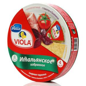 Сыр плавленый ассорти Итальянское избранное: с пармской ветчиной, с итальянским соусом Песто, с томатом и базиликом, с сыром пармезан Виола ТМ Viola (Виола)