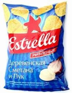 Чипсы рифленые деревенская сметана и лук ТМ Estrella (Эстрелла)