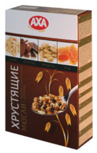 Мюсли хрустящие ТМ AXA медовые с шоколадом и орехами (обогащенные витамином Е): кешью, шоколад, миндаль, мед