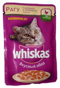 Корм для взрослых кошек, вкусный обед, рагу с курицей в кремовом соусе ТМ Whiskas (Вискас)
