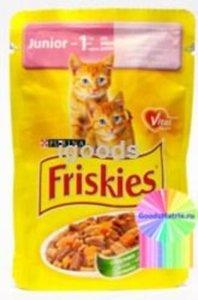 Корм полнорационный для котят Friskies Junior с курицей и морковью; кусочки в подливке ТМ Friskies (Фрискис)