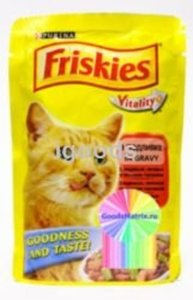 Корм полнорационный для взрослых кошек Friskies с индейкой, печенью, зеленым горошком; кусочки в подливке ТМ Friskies (Фрискис)