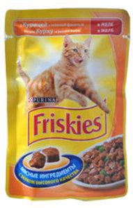 Корм полнорационный для взрослых кошек, с курицей и зеленой фасолью ТМ Friskies (Фрискис)