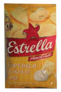 Чипсы картофельные со вкусом сметаны и нежного сыра (рифленые) ТМ Estrella (Эстрелла)
