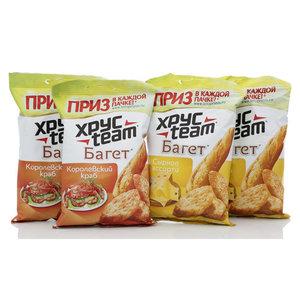 Сухарики Багет со вкусом сырного ассорти 4*40г ТМ Хрус Теам (Хрус Тим)