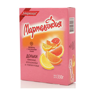 Мармелад ТМ Мармеландия лимонные, апельсиновые и грейпфрутовые дольки, 3*330г