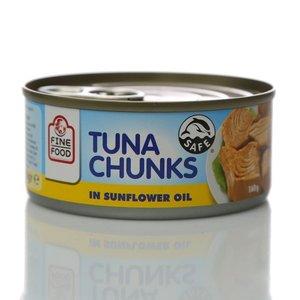 Полосатый тунец, кусочки в подсолнечном масле ТМ Fine Food (Файн фуд)