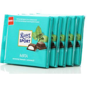 Шоколад темный с мятной начинкой 5*100г ТМ Ritter Sport (Риттер спорт)
