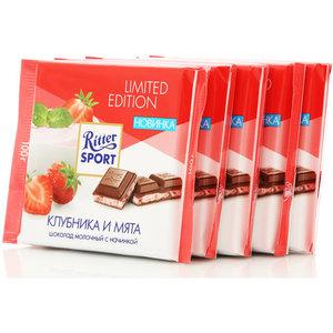 Шоколад молочный с клубнично-мятной начинкой 5*100г ТМ Ritter Sport (Риттер спорт)