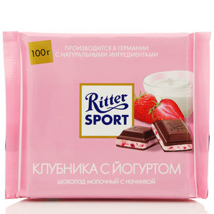Шоколад молочный с йогуртом и клубникой тм Ritter Sport (Риттер спорт)