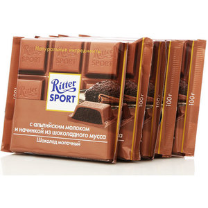Шоколад молочный с молоком и шоколадным муссом 5*100г ТМ Ritter Sport (Риттер Спорт)