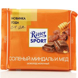 Шоколад молочный с соленым миндалем в медовой глазури тм Ritter Sport (Риттер спорт)