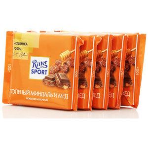 Шоколад молочный с соленым миндалем в медовой глазури 5*100г ТМ Ritter Sport (Риттер спорт)
