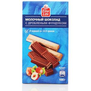 Шоколад молочный с дробленым фундуком тм Fine life (Файн лайф)