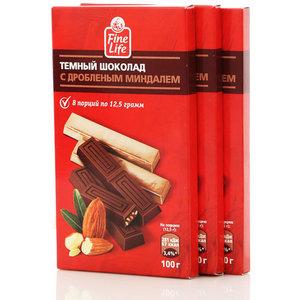 Темный шоколад с дробленым миндалем тм Fine life (Файн лайф)