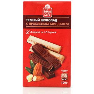 Темный шоколад с дробленым миндалем 3*100г ТМ Fine life (Файн лайф)