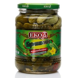Корнишоны (огурцы) маринованные деликатесные (3-6 см) ТМ  ЕКО (ЭКО)