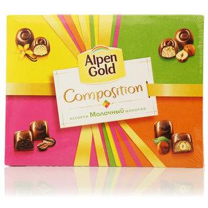 Конфеты ассорти конфет из молочного шоколада ТМ Alpen Gold Composition