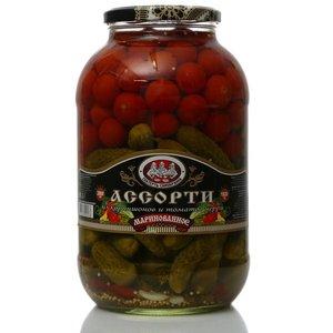 Ассорти из корнишонов и томатов черри маринованное ТМ Скатерть-Самобранка