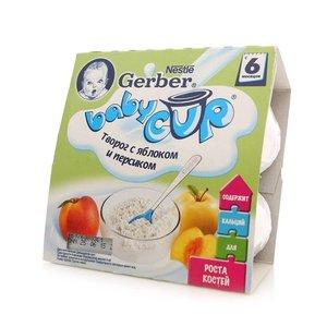 Пюре молочно-фруктовое Творог с яблоком и персиком с 6 месяцев ТМ Gerber Bebi Cup (Гербер)