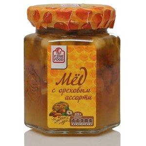 Мед натуральный цветочный с ореховым ассорти ТМ Fine Food (Файн Фуд)