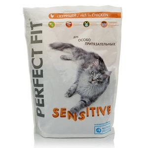 Корм сухой sensitive с курицей для взрослых кошек ТМ Perfect Fit (Перфект фит)