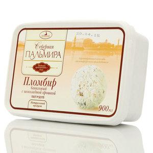 Пломбир ванильный Северная Пальмира с шоколадной крошкой ТМ Петрохолод 12%