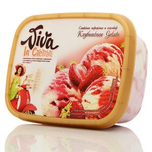 Мороженое закаленное пломбир и сливочное клубничное с йогуртом, с соусом из клубники и кусочками клубники ТМ Viva la Crema (Вива ла крема) 14,6%